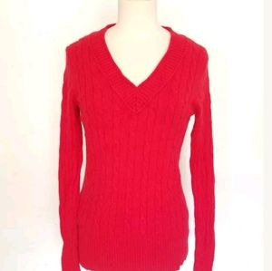 Ann Taylor Loft Medium Red Cable Knit Sweater